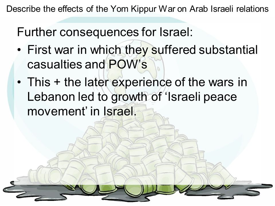 Describe the effects of the Yom Kippur War on Arab Israeli relations Further consequences for Israel: First war in which they suffered substantial cas