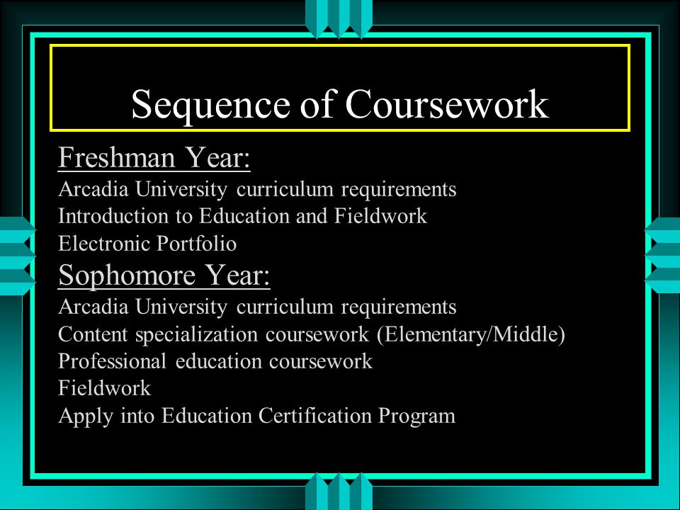 Sequence of Coursework Freshman Year: Arcadia University curriculum requirements Introduction to Education and Fieldwork Electronic Portfolio Sophomore Year: Arcadia University curriculum requirements Content specialization coursework (Elementary/Middle) Professional education coursework Fieldwork Apply into Education Certification Program