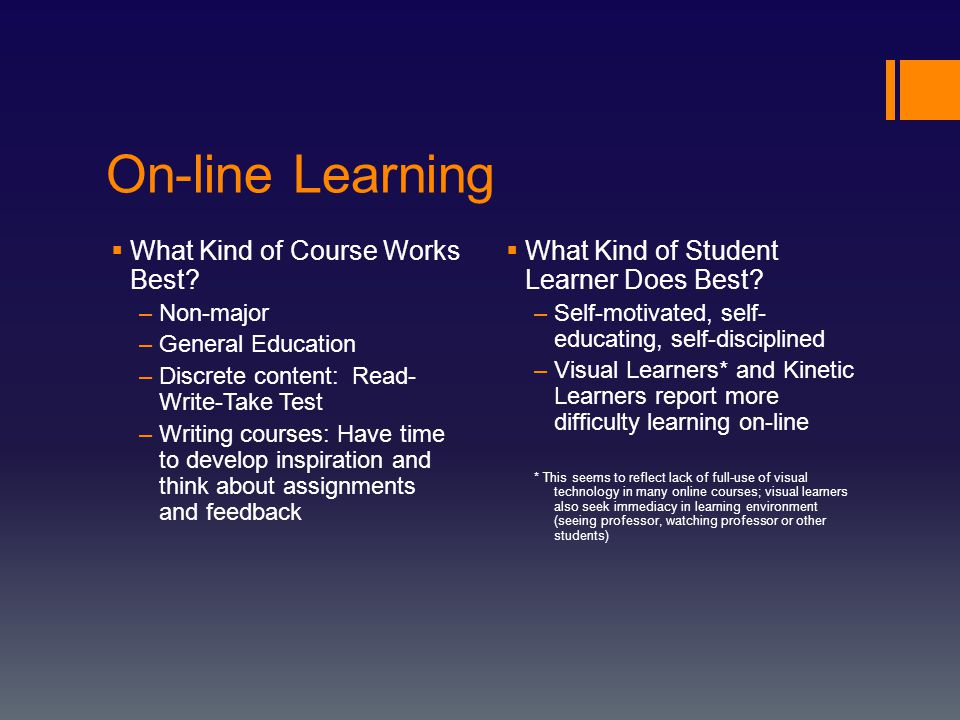 On-line Learning  What Kind of Course Works Best.