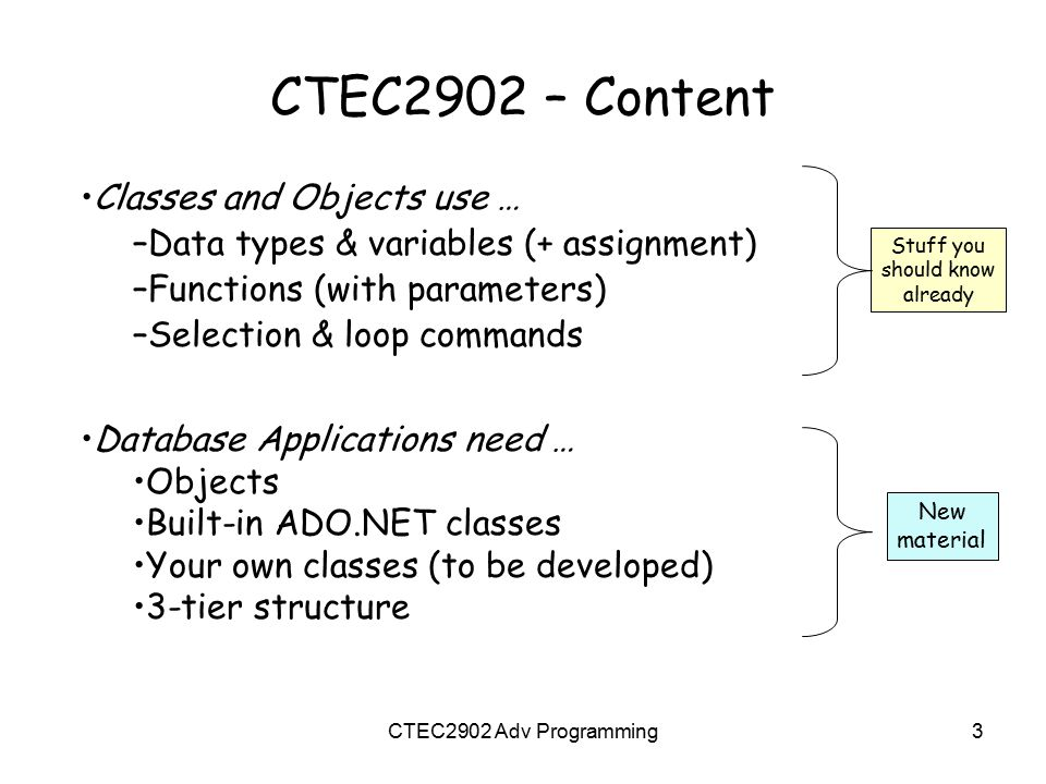 CTEC2902 – Content Classes and Objects use … –Data types & variables (+ assignment) –Functions (with parameters) –Selection & loop commands Stuff you