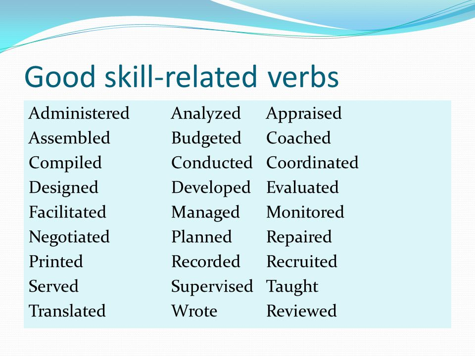 Good skill-related verbs AdministeredAnalyzedAppraised AssembledBudgetedCoached CompiledConductedCoordinated DesignedDevelopedEvaluated FacilitatedManagedMonitored NegotiatedPlannedRepaired PrintedRecordedRecruited ServedSupervisedTaught TranslatedWroteReviewed