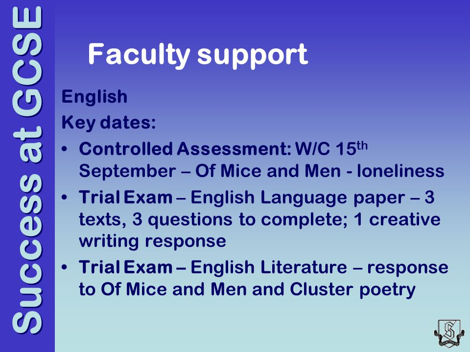 Success at GCSE Faculty support English Key dates: Controlled Assessment: W/C 15 th September – Of Mice and Men - loneliness Trial Exam – English Language paper – 3 texts, 3 questions to complete; 1 creative writing response Trial Exam – English Literature – response to Of Mice and Men and Cluster poetry