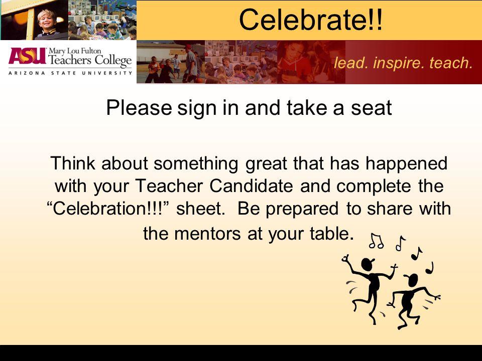 lead. inspire. teach. Celebrate!.