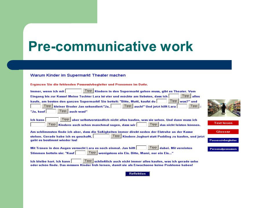 Pre-communicative work