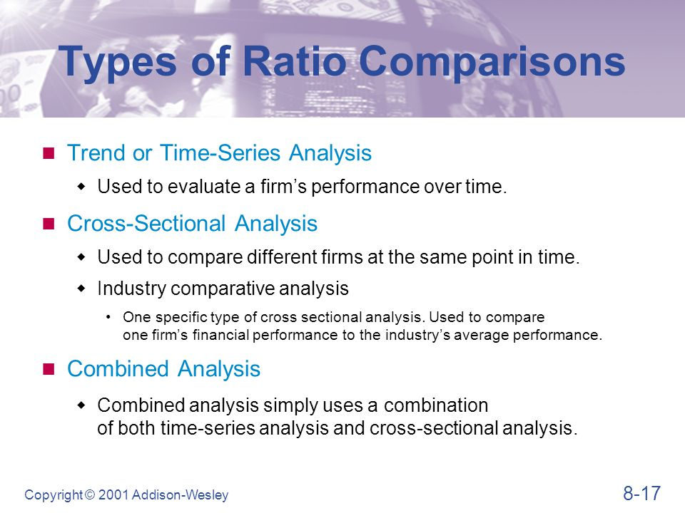 8-17 Copyright © 2001 Addison-Wesley Types of Ratio Comparisons Trend or Time-Series Analysis  Used to evaluate a firm's performance over time. Cross
