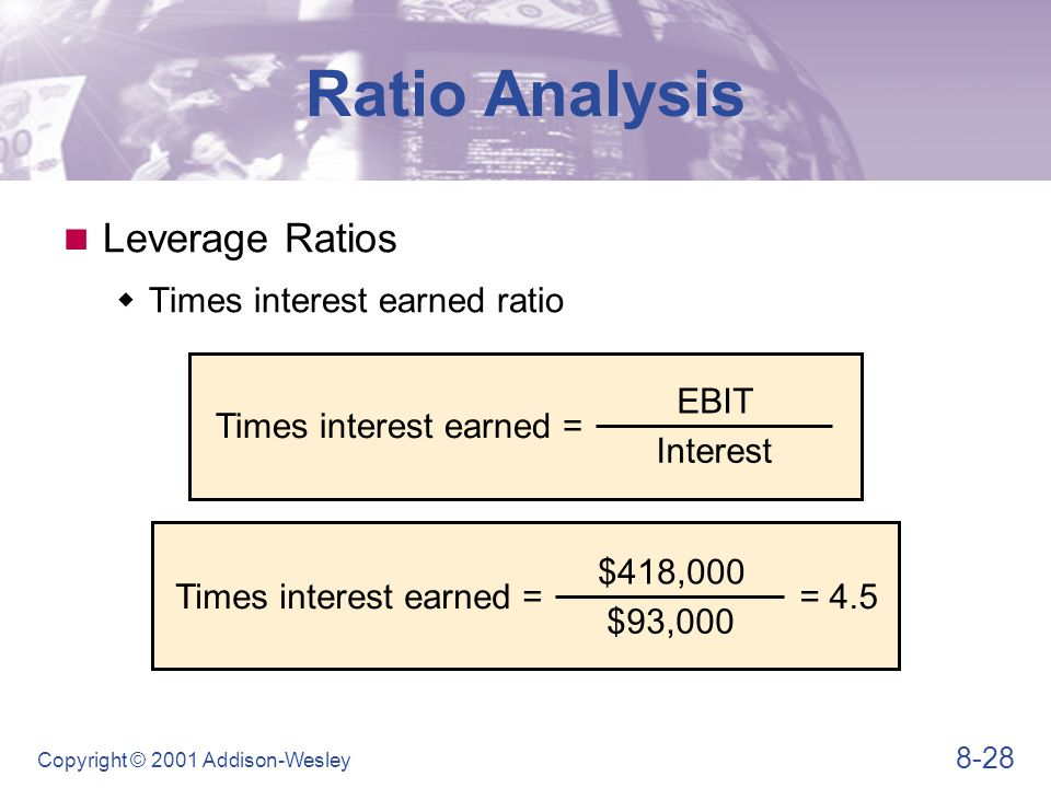 8-28 Copyright © 2001 Addison-Wesley Leverage Ratios  Times interest earned ratio Ratio Analysis Times interest earned = EBIT Interest Times interest