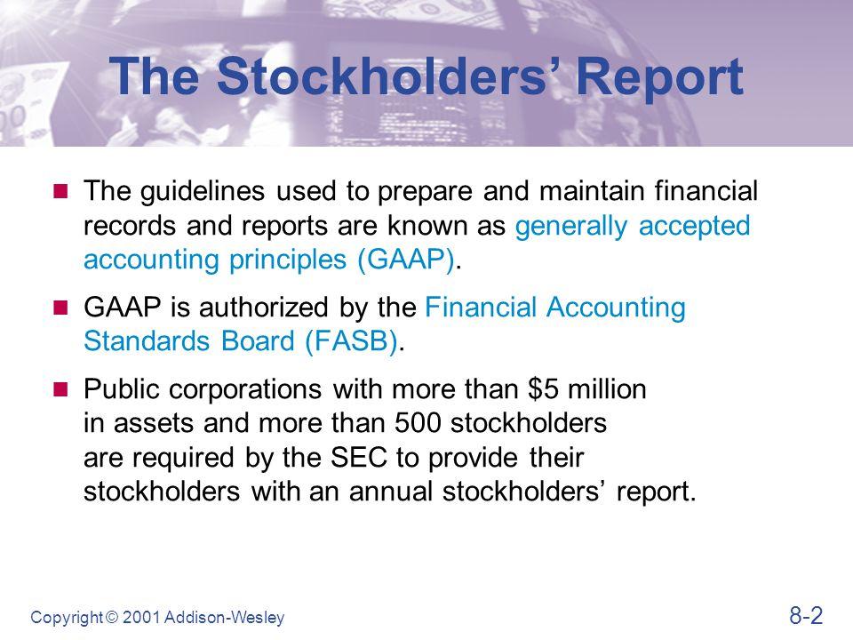 8-33 Copyright © 2001 Addison-Wesley Profitability Ratios  Net profit margin Ratio Analysis NPM = Net profits after taxes Net sales NPM = $231,000 $3,074,000 = 7.5%