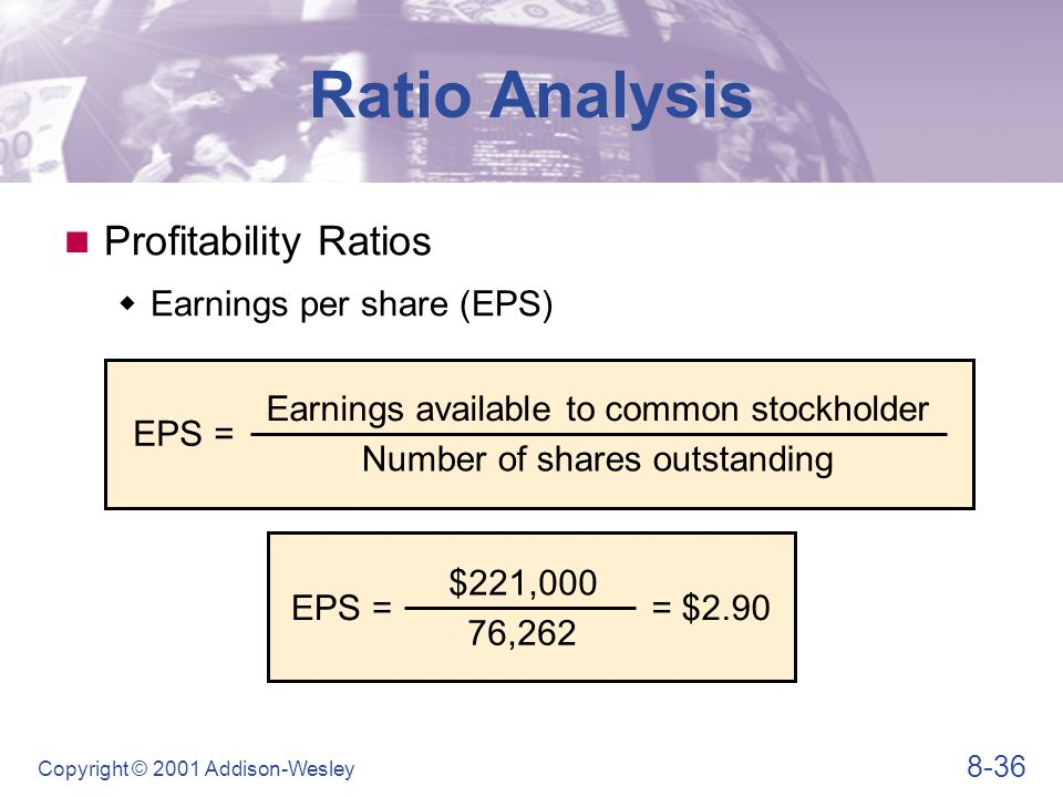 8-36 Copyright © 2001 Addison-Wesley Profitability Ratios  Earnings per share (EPS) Ratio Analysis EPS = Earnings available to common stockholder Num
