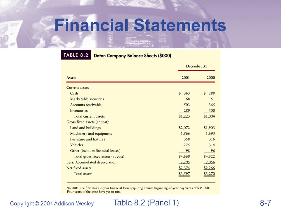 8-8 Copyright © 2001 Addison-Wesley Financial Statements Table 8.2 (Panel 2)