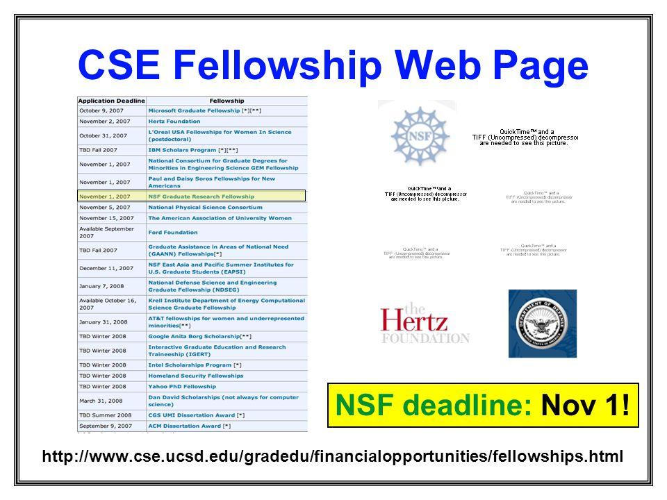 CSE Fellowship Web Page http://www.cse.ucsd.edu/gradedu/financialopportunities/fellowships.html NSF deadline: Nov 1!