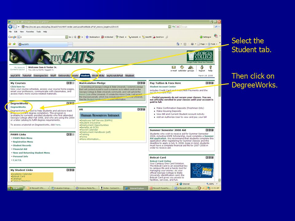 Select the Student tab. Then click on DegreeWorks.