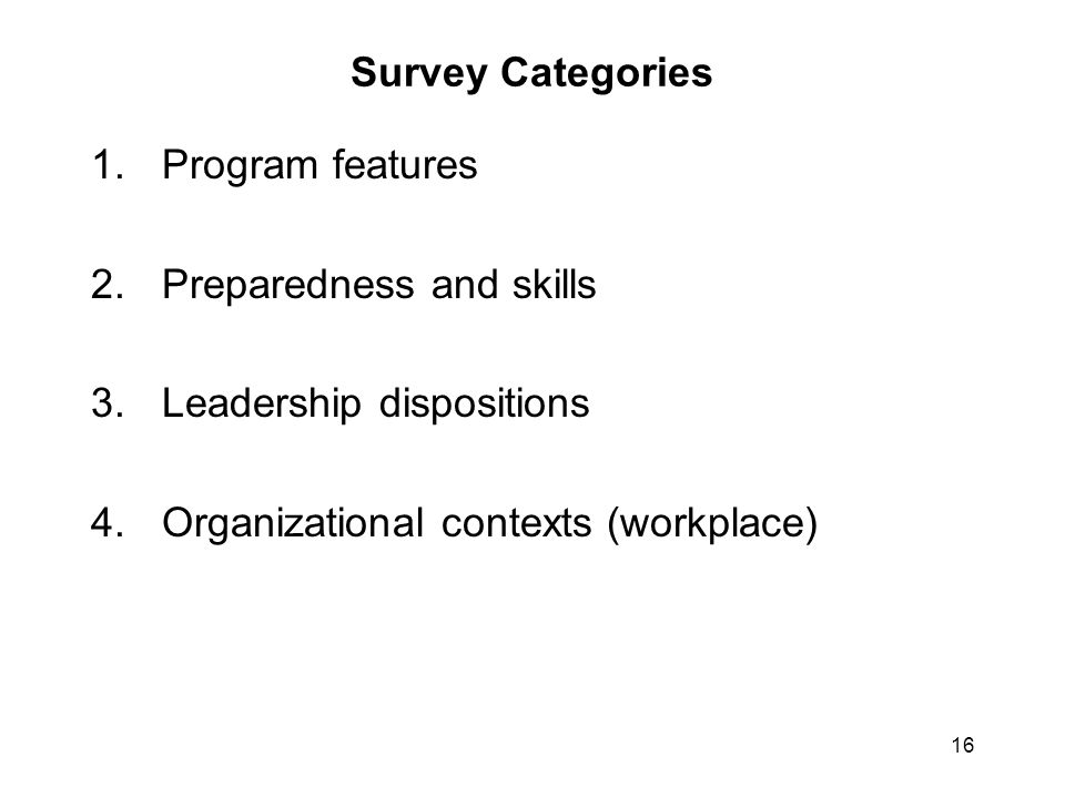 16 Survey Categories 1.Program features 2.Preparedness and skills 3.Leadership dispositions 4.Organizational contexts (workplace)