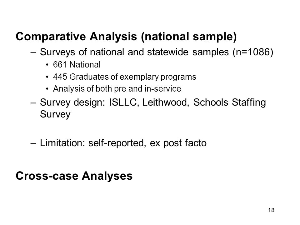 18 Comparative Analysis (national sample) –Surveys of national and statewide samples (n=1086) 661 National 445 Graduates of exemplary programs Analysis of both pre and in-service –Survey design: ISLLC, Leithwood, Schools Staffing Survey –Limitation: self-reported, ex post facto Cross-case Analyses