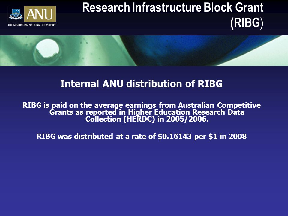 Research Infrastructure Block Grant (RIBG ) Internal ANU distribution of RIBG RIBG is paid on the average earnings from Australian Competitive Grants as reported in Higher Education Research Data Collection (HERDC) in 2005/2006.