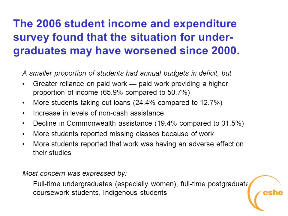 The University of Melbourne > Centre for the Study of Higher Education The 2006 student income and expenditure survey found that the situation for under- graduates may have worsened since 2000.