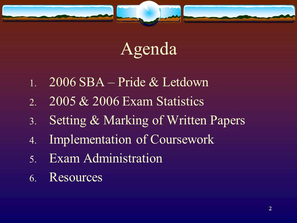 2 Agenda 1. 2006 SBA – Pride & Letdown 2. 2005 & 2006 Exam Statistics 3.