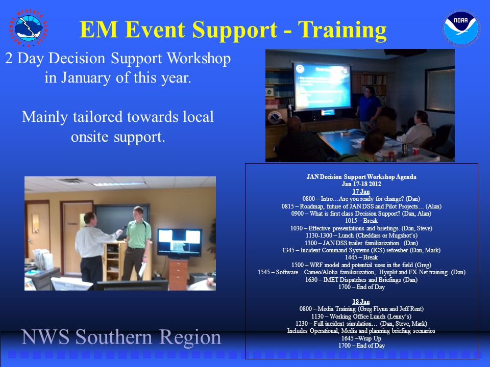 EM Event Support - Training JAN Decision Support Workshop Agenda Jan 17-18 2012 17 Jan 0800 – Intro…Are you ready for change.