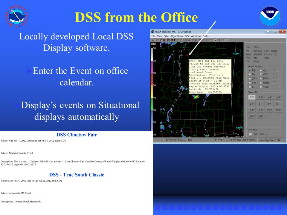 NWS Southern Region DSS from the Office Locally developed Local DSS Display software.