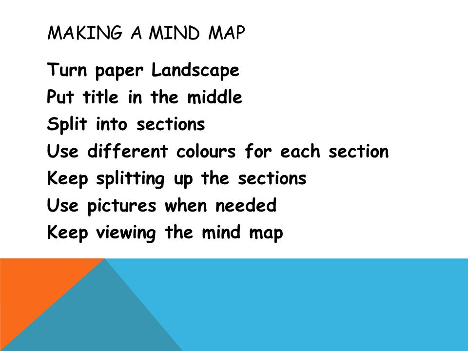 MAKING A MIND MAP Turn paper Landscape Put title in the middle Split into sections Use different colours for each section Keep splitting up the sections Use pictures when needed Keep viewing the mind map