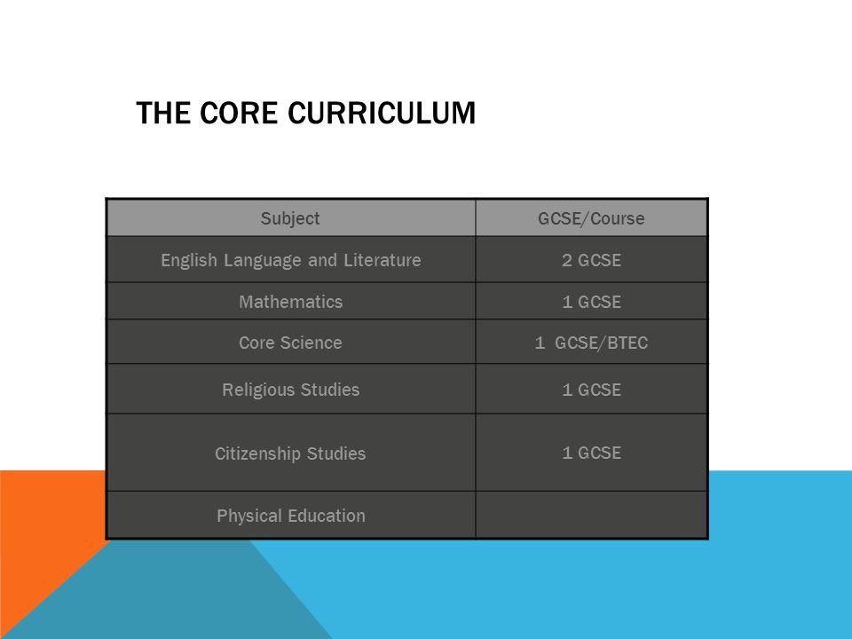 THE CORE CURRICULUM SubjectGCSE/Course English Language and Literature2 GCSE Mathematics1 GCSE Core Science1 GCSE/BTEC Religious Studies1 GCSE Citizenship Studies1 GCSE Physical Education