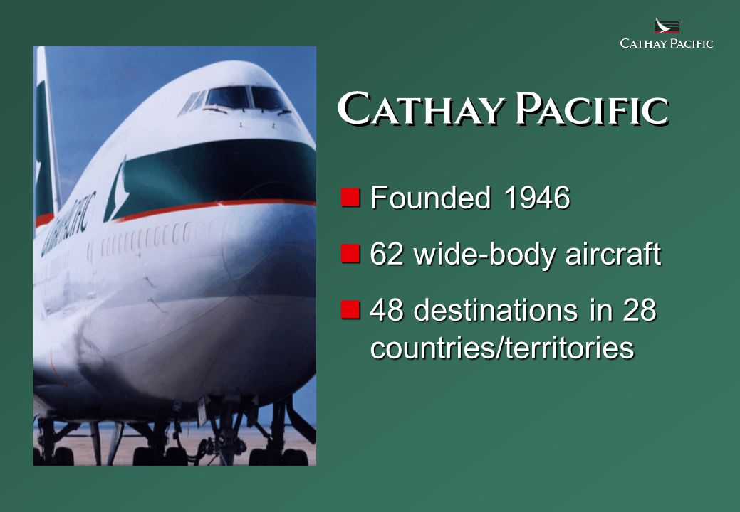 Founded 1946 Founded 1946 62 wide-body aircraft 62 wide-body aircraft 48 destinations in 28 countries/territories 48 destinations in 28 countries/territories