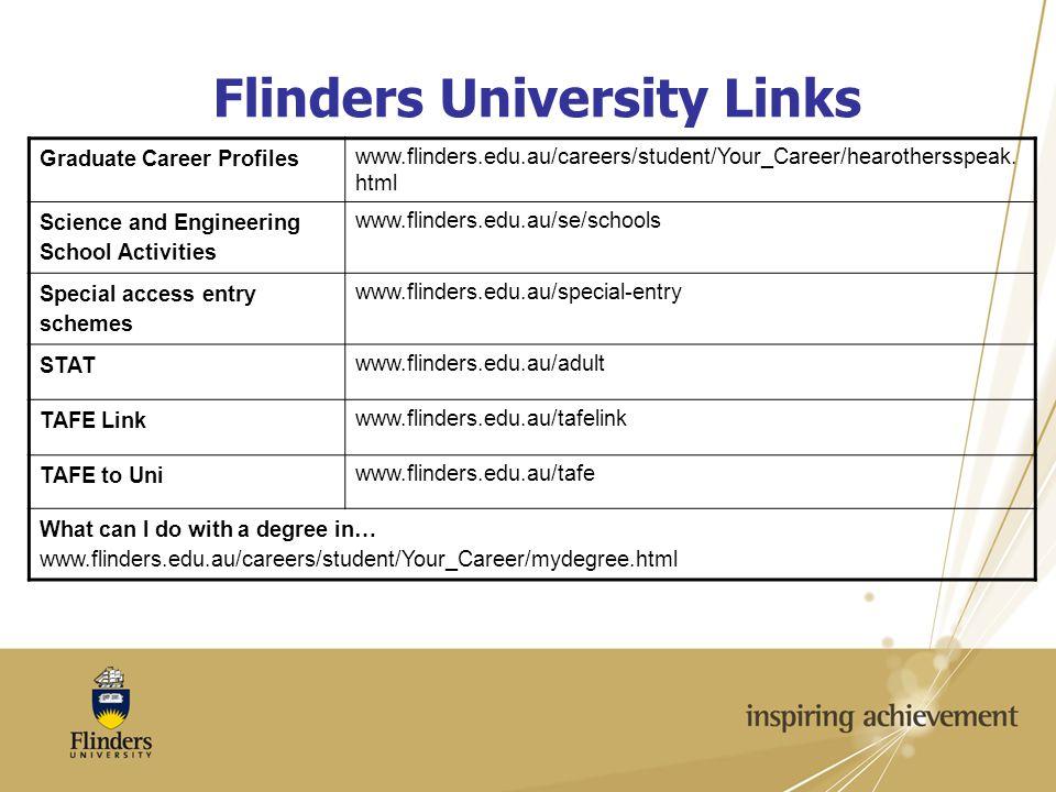 Flinders University Links Graduate Career Profiles www.flinders.edu.au/careers/student/Your_Career/hearothersspeak. html Science and Engineering Schoo