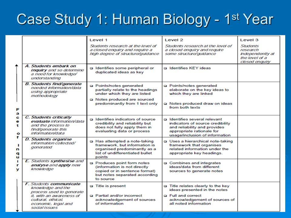 Case Study 1: Human Biology - 1 st Year