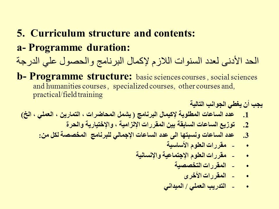 5. Curriculum structure and contents: a- Programme duration: الحد الأدنى لعدد السنوات اللازم لإكمال البرنامج والحصول علي الدرجة b- Programme structure