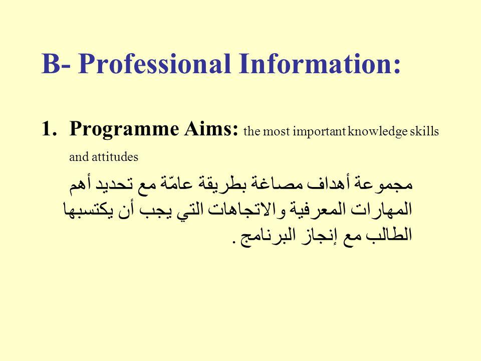 B- Professional Information: 1.Programme Aims: the most important knowledge skills and attitudes مجموعة أهداف مصاغة بطريقة عامّة مع تحديد أهم المهارات
