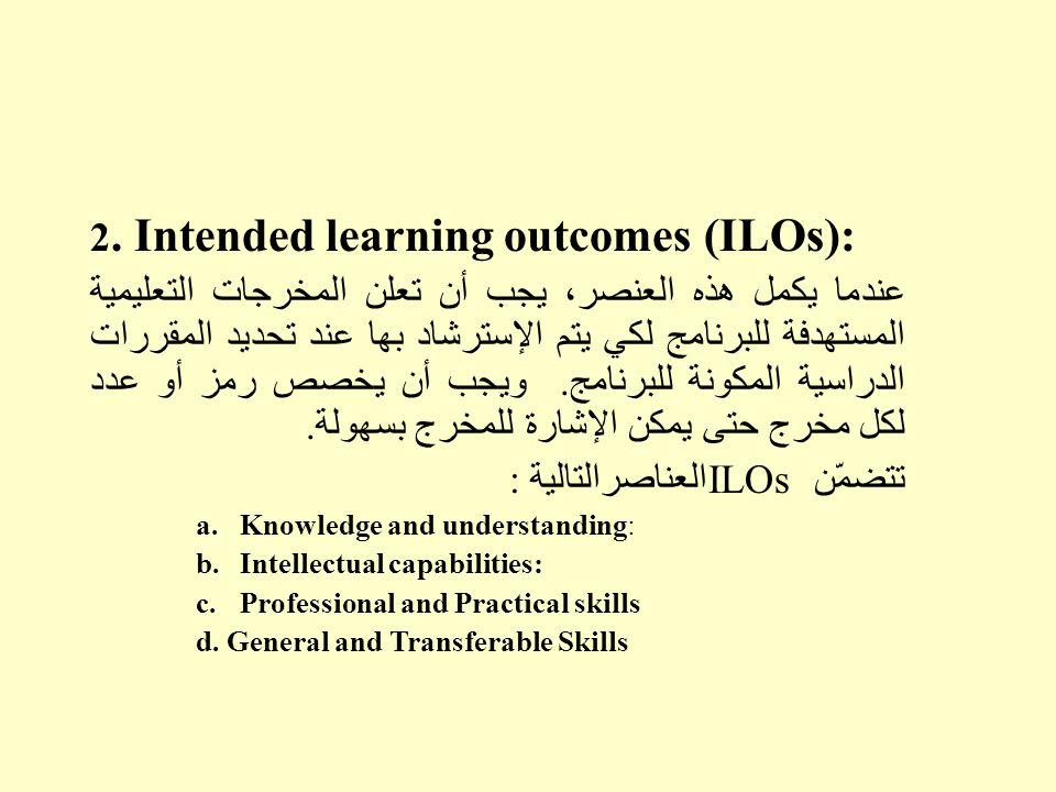 2. Intended learning outcomes (ILOs): عندما يكمل هذه العنصر، يجب أن تعلن المخرجات التعليمية المستهدفة للبرنامج لكي يتم الإسترشاد بها عند تحديد المقررا