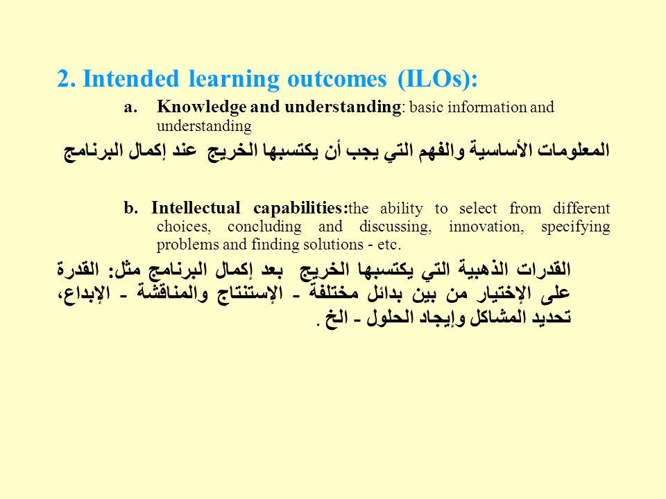 2. Intended learning outcomes (ILOs): a.Knowledge and understanding: basic information and understanding المعلومات الأساسية والفهم التي يجب أن يكتسبها