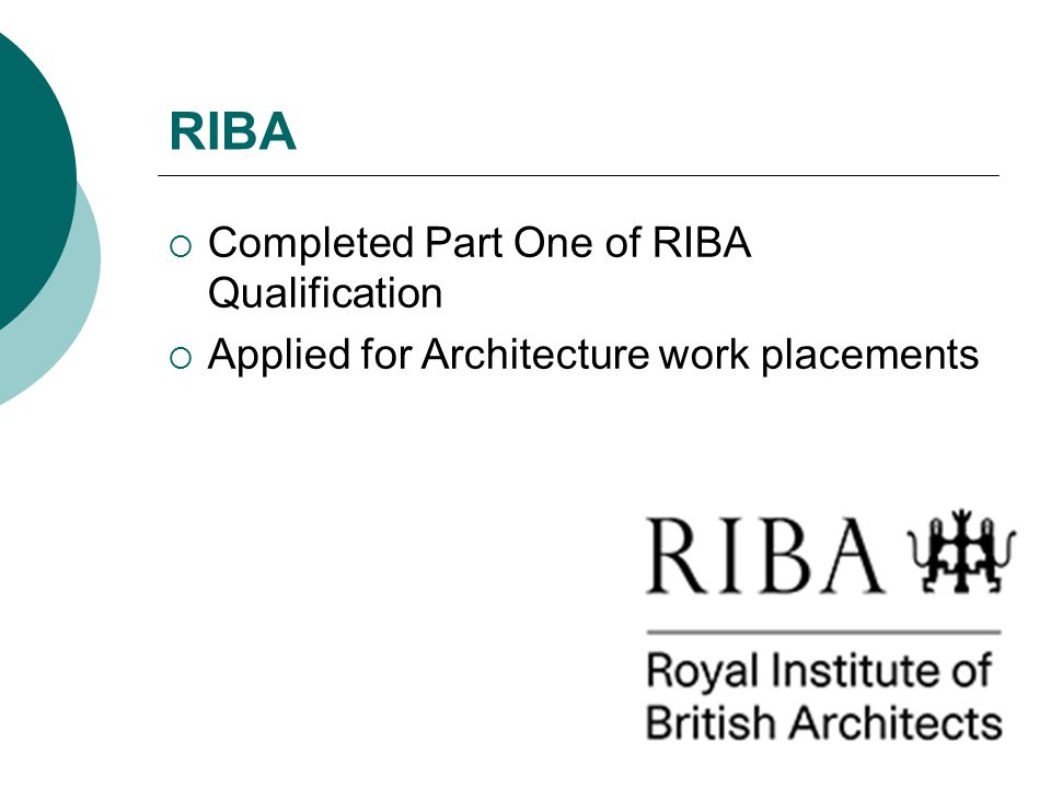 RIBA  Completed Part One of RIBA Qualification  Applied for Architecture work placements