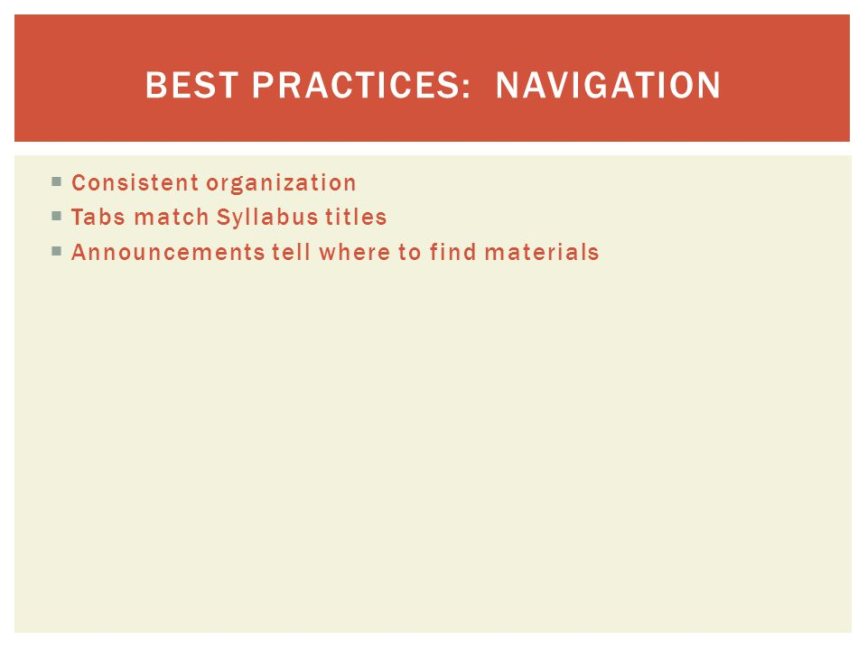  Consistent organization  Tabs match Syllabus titles  Announcements tell where to find materials BEST PRACTICES: NAVIGATION