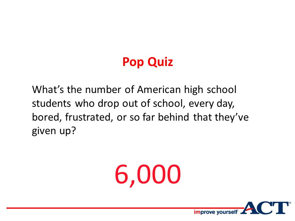 What's the number of American high school students who drop out of school, every day, bored, frustrated, or so far behind that they've given up.