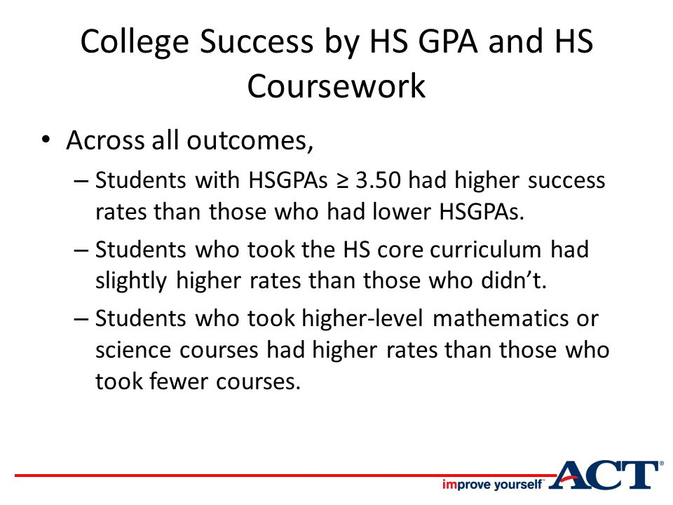 College Success by HS GPA and HS Coursework Across all outcomes, – Students with HSGPAs ≥ 3.50 had higher success rates than those who had lower HSGPAs.