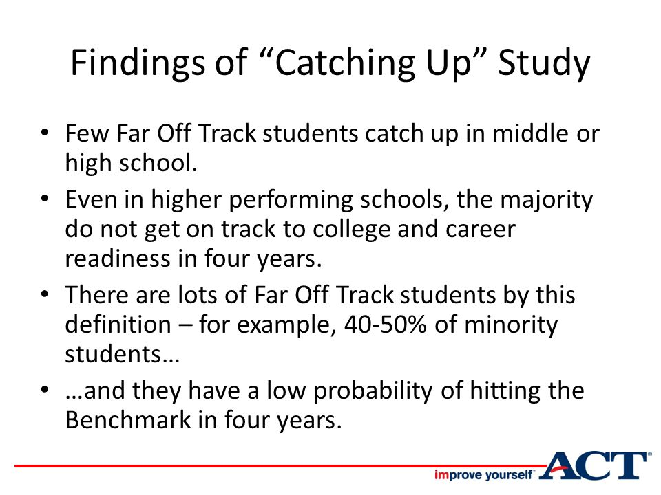 Findings of Catching Up Study Few Far Off Track students catch up in middle or high school.