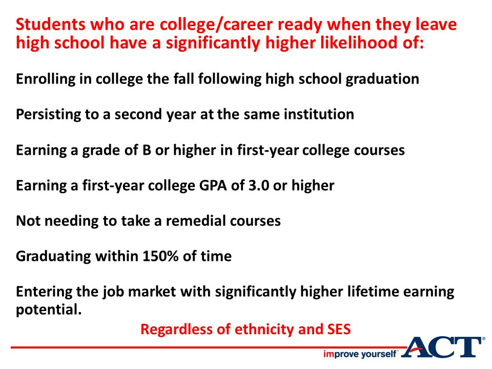 Key Finding 1 Being better prepared academically for college improves a student's chances of completing a college degree.