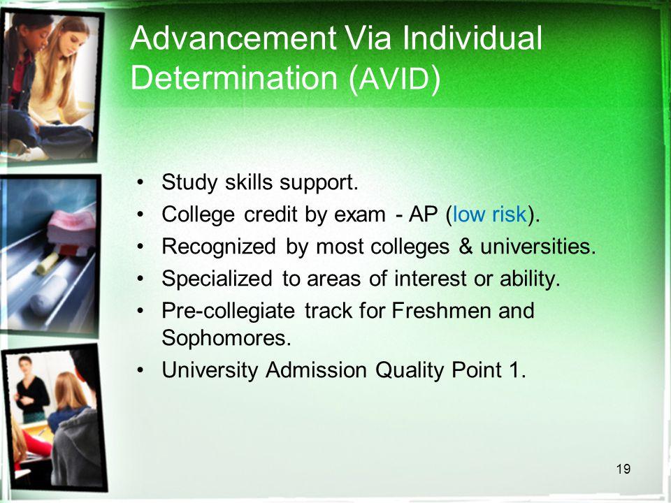 19 Advancement Via Individual Determination ( AVID ) Study skills support.