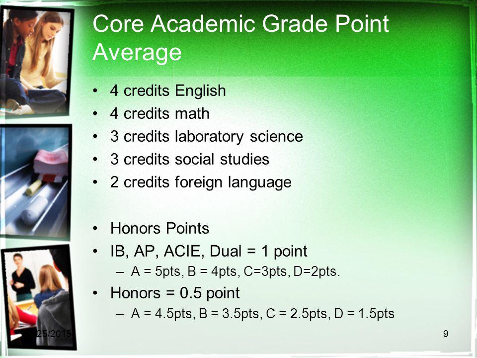 Core Academic Grade Point Average 4 credits English 4 credits math 3 credits laboratory science 3 credits social studies 2 credits foreign language Honors Points IB, AP, ACIE, Dual = 1 point –A = 5pts, B = 4pts, C=3pts, D=2pts.