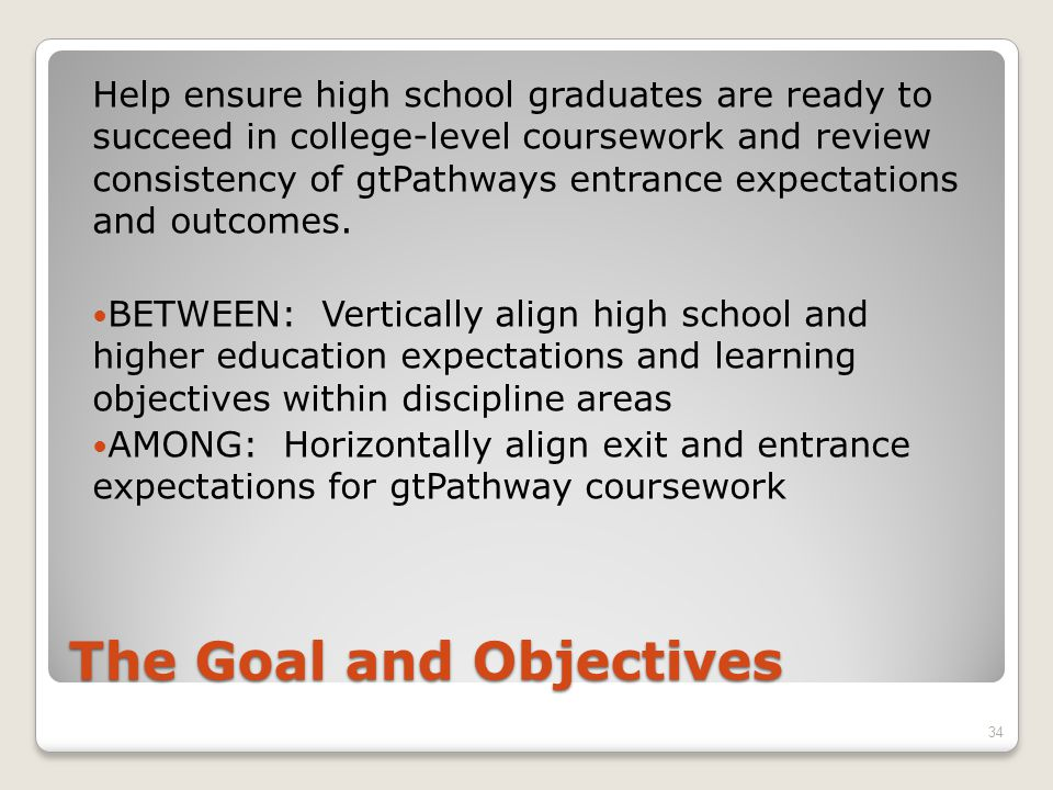 The Goal and Objectives Help ensure high school graduates are ready to succeed in college-level coursework and review consistency of gtPathways entrance expectations and outcomes.