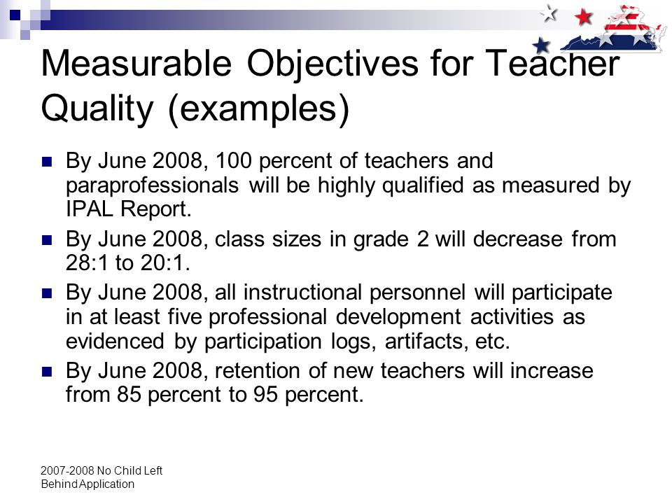 2007-2008 No Child Left Behind Application Measurable Objectives for Teacher Quality (examples) By June 2008, 100 percent of teachers and paraprofessionals will be highly qualified as measured by IPAL Report.