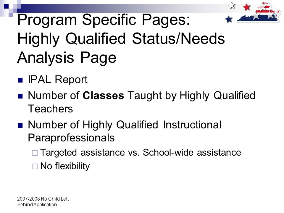 2007-2008 No Child Left Behind Application Program Specific Pages: Highly Qualified Status/Needs Analysis Page IPAL Report Number of Classes Taught by Highly Qualified Teachers Number of Highly Qualified Instructional Paraprofessionals  Targeted assistance vs.