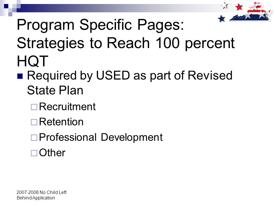 2007-2008 No Child Left Behind Application Program Specific Pages: Strategies to Reach 100 percent HQT Required by USED as part of Revised State Plan  Recruitment  Retention  Professional Development  Other