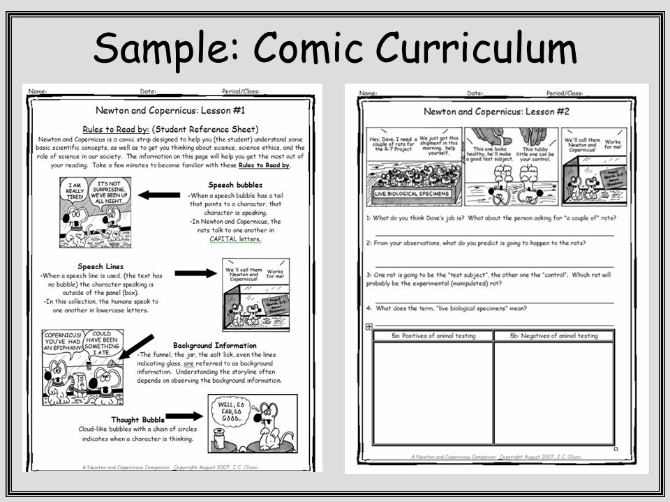 Sample: Comic Curriculum