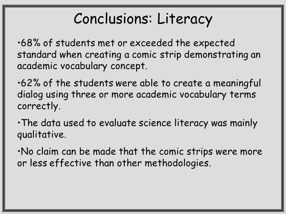 Conclusions: Literacy 68% of students met or exceeded the expected standard when creating a comic strip demonstrating an academic vocabulary concept.