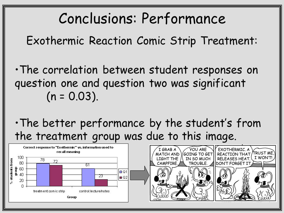Conclusions: Performance Exothermic Reaction Comic Strip Treatment: The correlation between student responses on question one and question two was significant (n = 0.03).