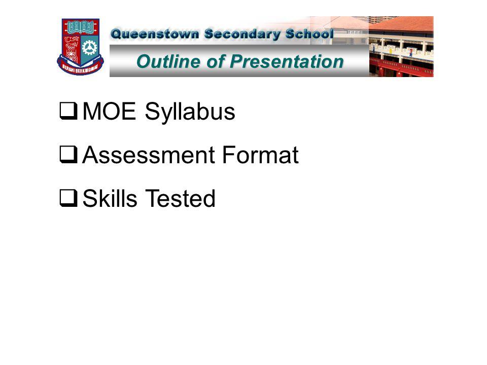 Outline of Presentation  MOE Syllabus  Assessment Format  Skills Tested