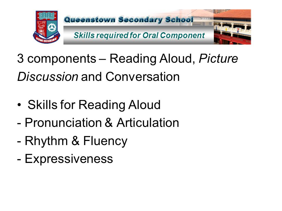 3 components – Reading Aloud, Picture Discussion and Conversation Skills for Reading Aloud - Pronunciation & Articulation - Rhythm & Fluency - Express