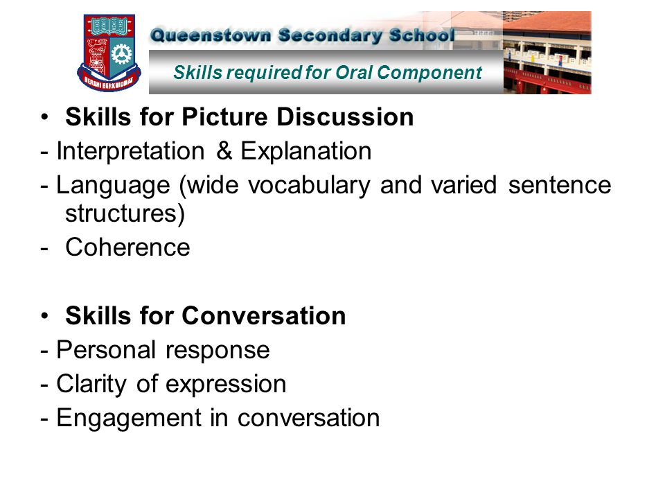 Skills for Picture Discussion - Interpretation & Explanation - Language (wide vocabulary and varied sentence structures) -Coherence Skills for Convers
