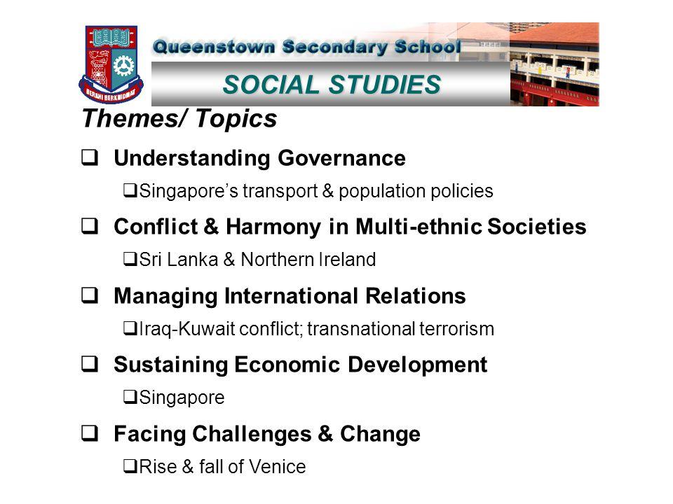 SOCIAL STUDIES Themes/ Topics  Understanding Governance  Singapore's transport & population policies  Conflict & Harmony in Multi-ethnic Societies